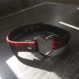 Super Cute Plaid Heart Shaped O Ring Chocker